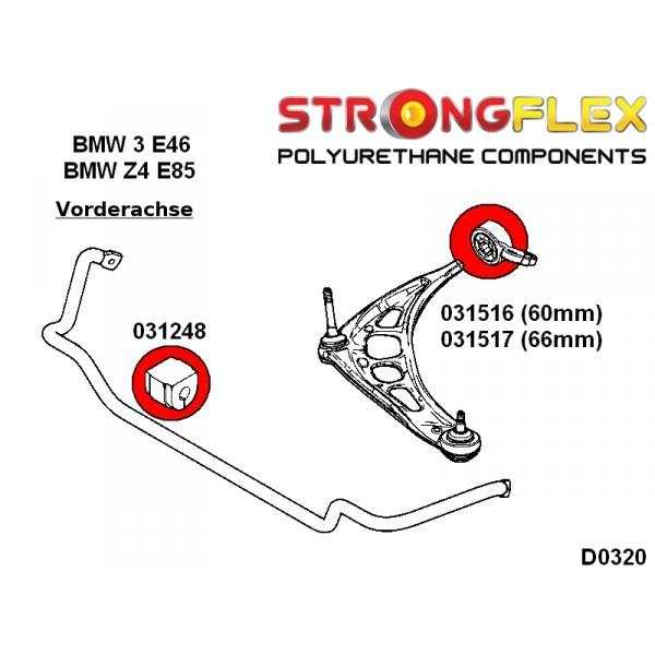PU Buchsensatz Kit für BMW 3er E36  Hinterachse StrongFlex 90ShA gelb